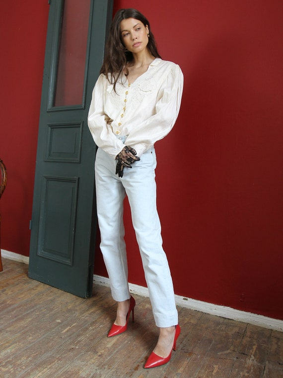 Vintage White Silk Blouse, 70s Victorian Style