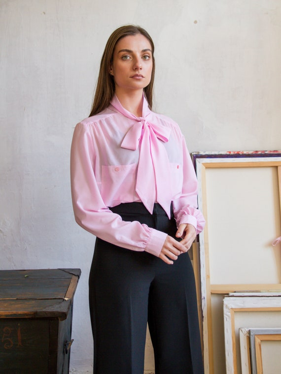 Vintage Pink PussyBow Blouse, Chiffon Sheer Blouse
