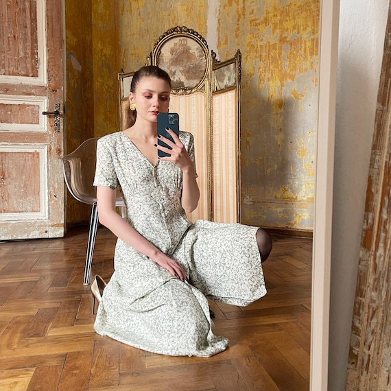 Vintage Floral button Down Dress, Cottagecore dre… - image 1
