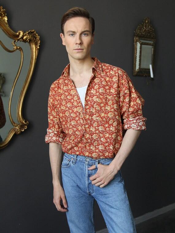 Vintage Floral Men's Shirt, Hippie Shirt