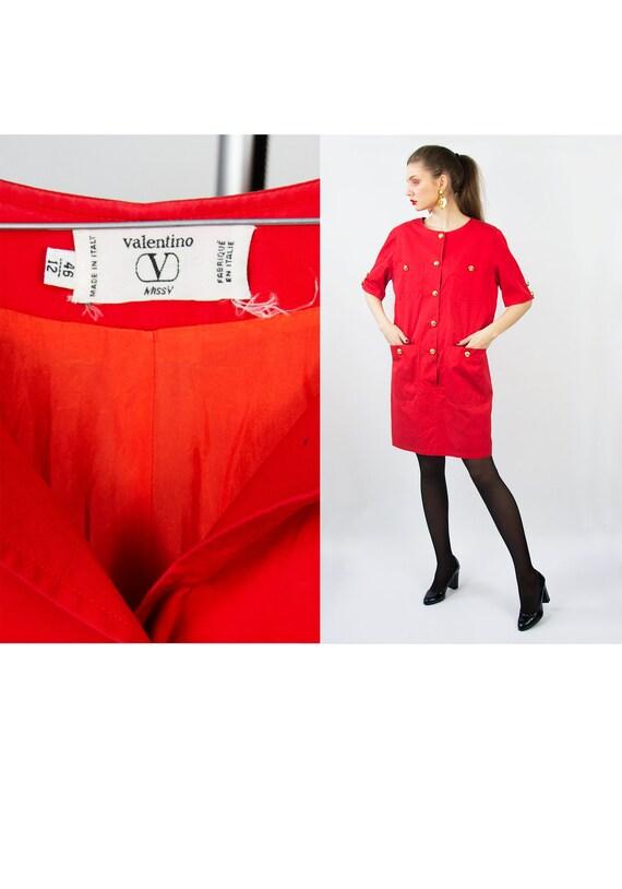 Vintage VALENTINO Dress | Red Valentino Dress Coco