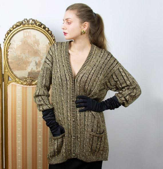 Vintage Gold Cardigan, Long Oversized Wool Cardiga