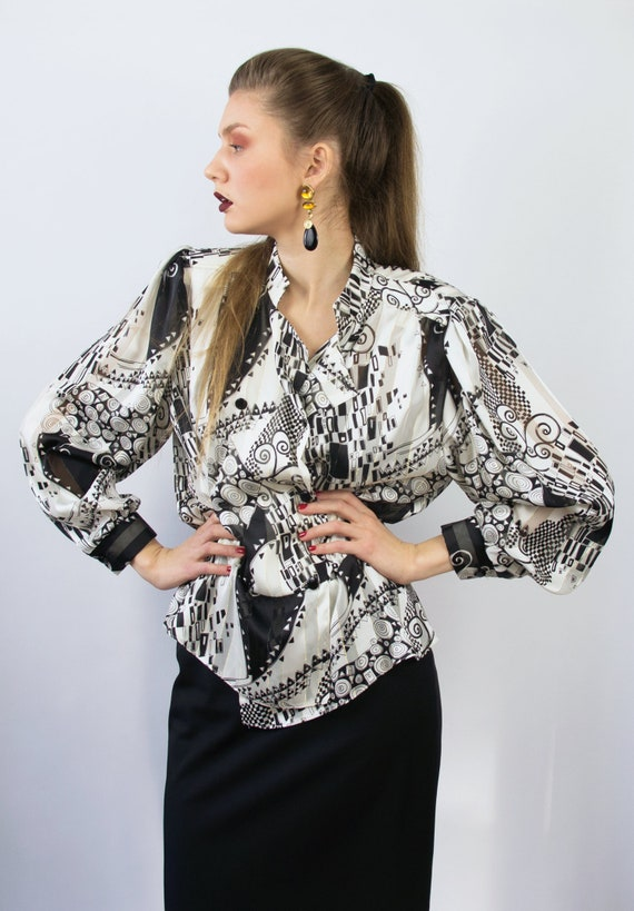 Vintage Abstract Blouse | Statement Blouse | 80's… - image 1