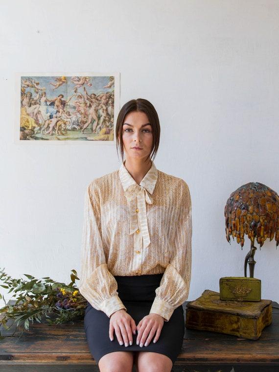 Vintage ESCADA blouse, Sheer Silk Pussy Bow Blouse