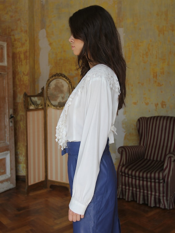 Vintage White Ruffle Blouse, Victorian Style Top - image 6
