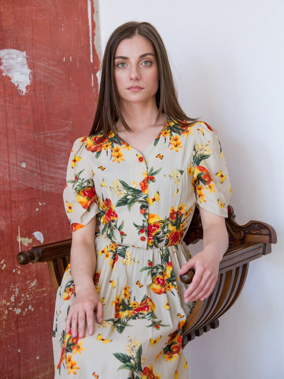 Vintage Floral Dress, Short Sleeve Summer Dress - image 4