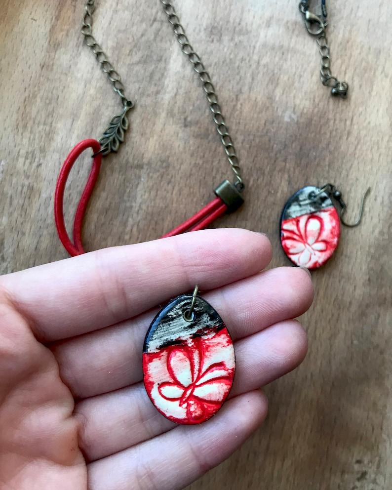 Unique Black And Red Necklace  Large Pendant Necklace With Red Dangle Earrings  Red Butterfly Pendant Necklace and Earrings Set