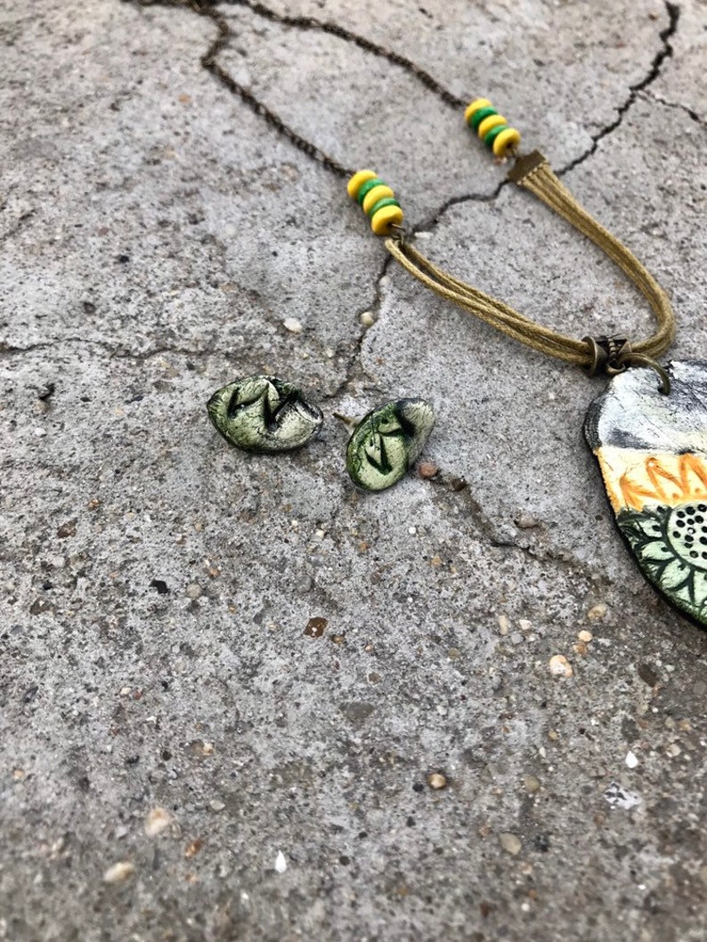 Boho colorful pendant necklace and small stud earrings made from clay with big flower print  Massive long necklace hand painted for women