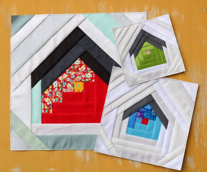 HOME Quilt Block  paper pieced house/log cabin/pineapple image 0