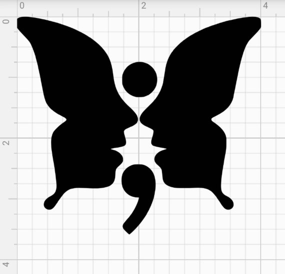 Semicolon Butterfly Face Decal Sticker For Cars Truck Almost Etsy