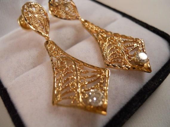 14k Yellow Gold .40ct Diamond Chandelier Art Deco