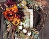 Rust Burgundy Fall Wreath, Front Door Wreaths, Rustic Wreath, Door Décor, Front Door Wreath, Boho Door Wreath, Autumn Wreath, Fall Decor