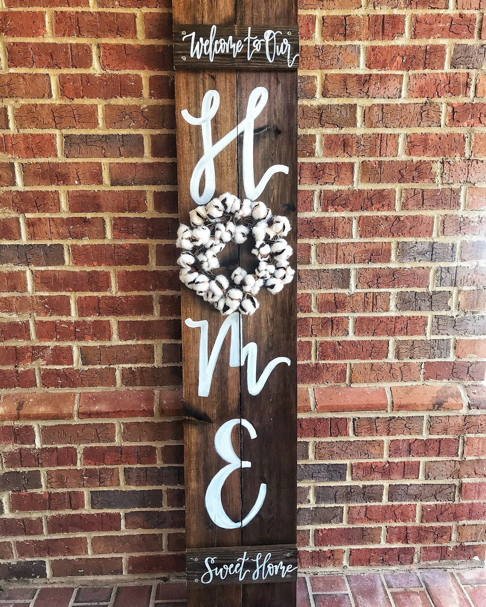 Porch Welcome Sign, Home Signs, Wood Sign with Wreath ...