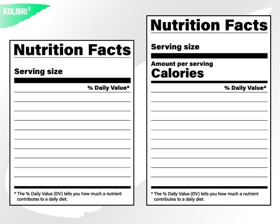 Nutrition Facts Svg Nutrition Svg Nutrition Facts Clipart Etsy