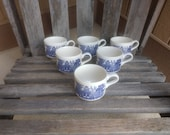 Vintage Oriental Themed Ceramic Mugs Retro Stackable Blue and White Cups Set of 6 Made in England