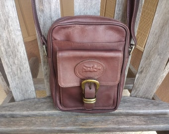 549c28a0aa1f Vintage Brown Leather Crossbody Bag American Angel Genuine Leather Shoulder Handbag  Purse Made in Columbia