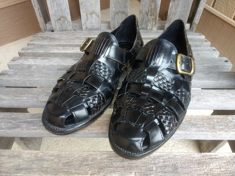 detailing ae218 7c3e1 Vintage Botany 500 Black Leather Huaraches Mens Woven Sandals with Side  Buckle Size 10 M Made in India