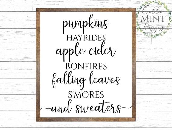 Pumpkins Hayrides Bonfires Apple Cider Falling Leaves Etsy