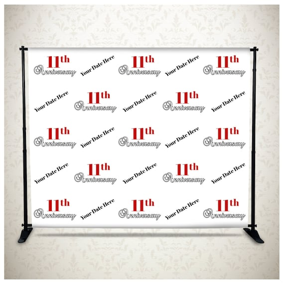 Happy 11th Anniversary Celebration Photography Backdrop Step /& Repeat Banner for Wedding Office Events