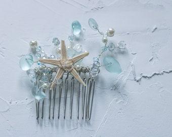 Starfish and Sea Glass Hair Accessory