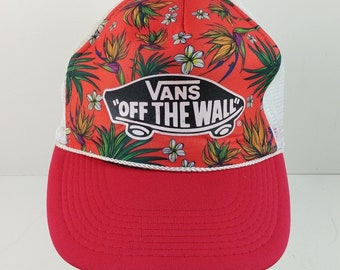 8751b960f8a Vans Off The Wall Red Floral Skateboard Logo Cap Hat Snapback Trucker -  07