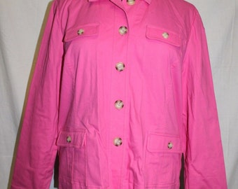 65d9bb516dd8f Appleseeds Long Sleeve Pink Button Down Coat Jacket Womens Size Large