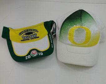 d29164240a4 lc Oregon Ducks Lot Visor Baseball Snapback Green Yellow Trucker Hat - Lot   27