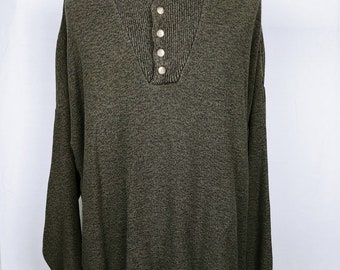 3b8a6459dc r1 Great Northwest Mens Sweater Green Pullover Partial Button Size XXL