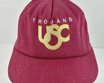 4f222383e51 lc USC Trojans Cardinal Red Stated Baseball Snapback Trucker Cap Hat - Lot   23