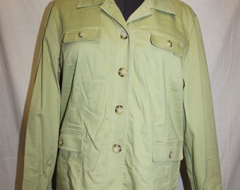 0f616910427a7 Appleseeds Long Sleeve Lime Green Button Down Coat Jacket Womens Size Large