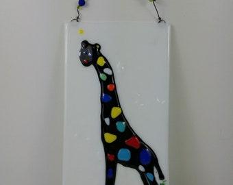 cf5f7ce589c Colorful Rainbow Giraffe Fused Glass Wall Plaque 6