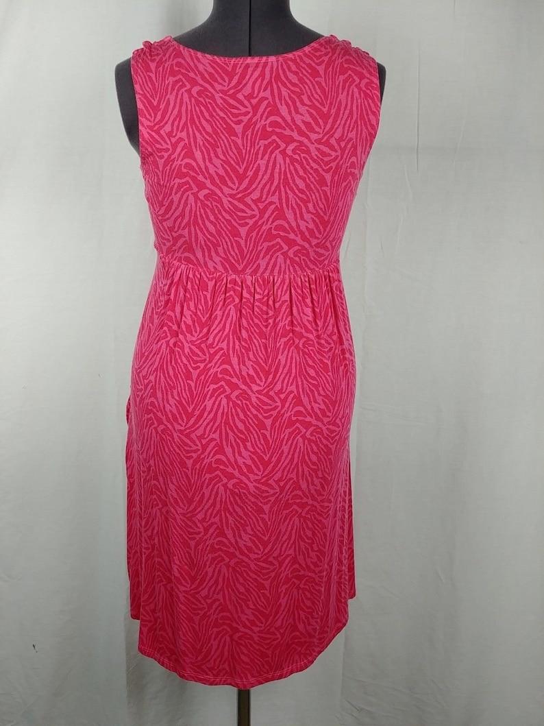 Style /& Co Pink Zebra Animal Print Sun Dress Sleeveless Pockets Womens S