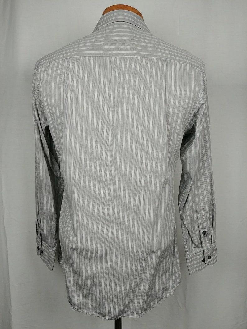r2 Alfani Fitted Gray Striped Button Down Dress Shirt Long Sleeve Mens Sz M 15