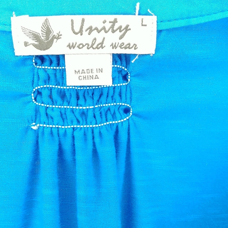 Unity World Wear Blue Floral 34 Sleeve Button Up Blouse Womens Size L