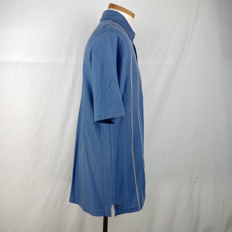 Fidra Brandon Dunes Blue Short Sleeve Striped Casual Cotton Shirt Mens Size M