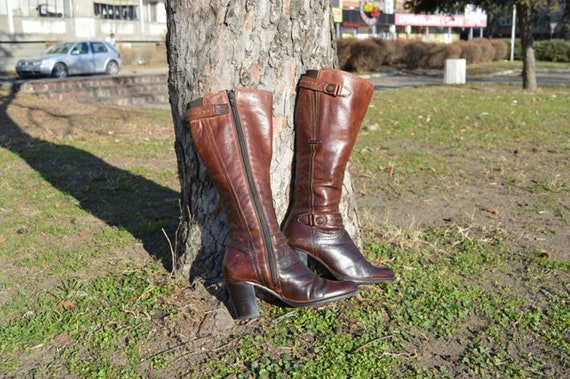 Vintage leather boots Western boots Women boots La