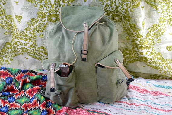 Canvas backpack Travel backpack Green backpack Can