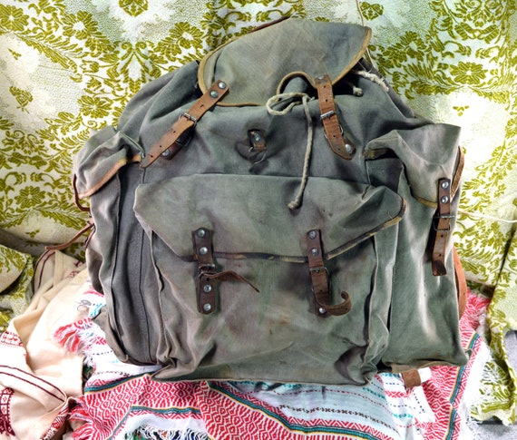 Distressed backpack Canvas backpack Laptop backpac