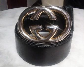 699a452bfaeb Vintage circa 60 s Gucci GG Belt Buckle with Original Black leather belt
