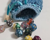 Denim Colored Crochet Dragon Scale Dice Bag Dragon Egg Dice Bag