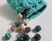Aqua Crochet Dragon Scale Dice Bag Dragon Egg Dice Bag