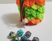 Neon Crochet Dragon Scale Dice Bag Dragon Egg Dice Bag