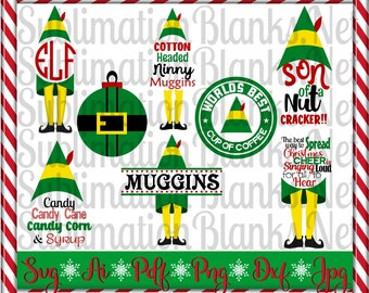 Buddy the Elf Svg Split Monogram Svg CHRISTMAS Svg Cricut Silhouette svg Cut Files Bundle Christmas Ornament Svg Clipart Instant Download