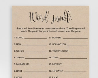 Word jumble game | Etsy