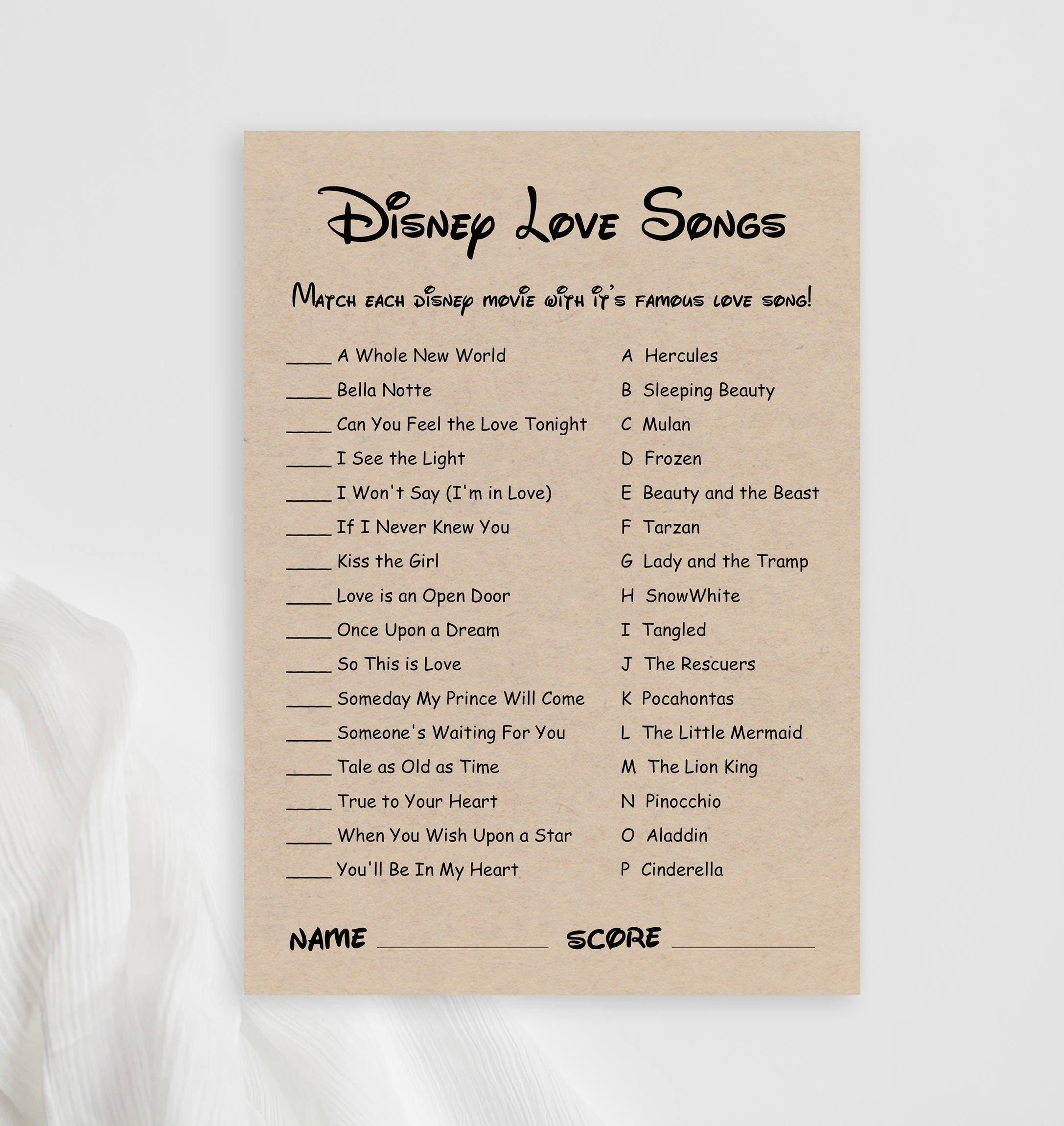 Disney Love Songs Bridal Shower Game Printable Disney Song Etsy