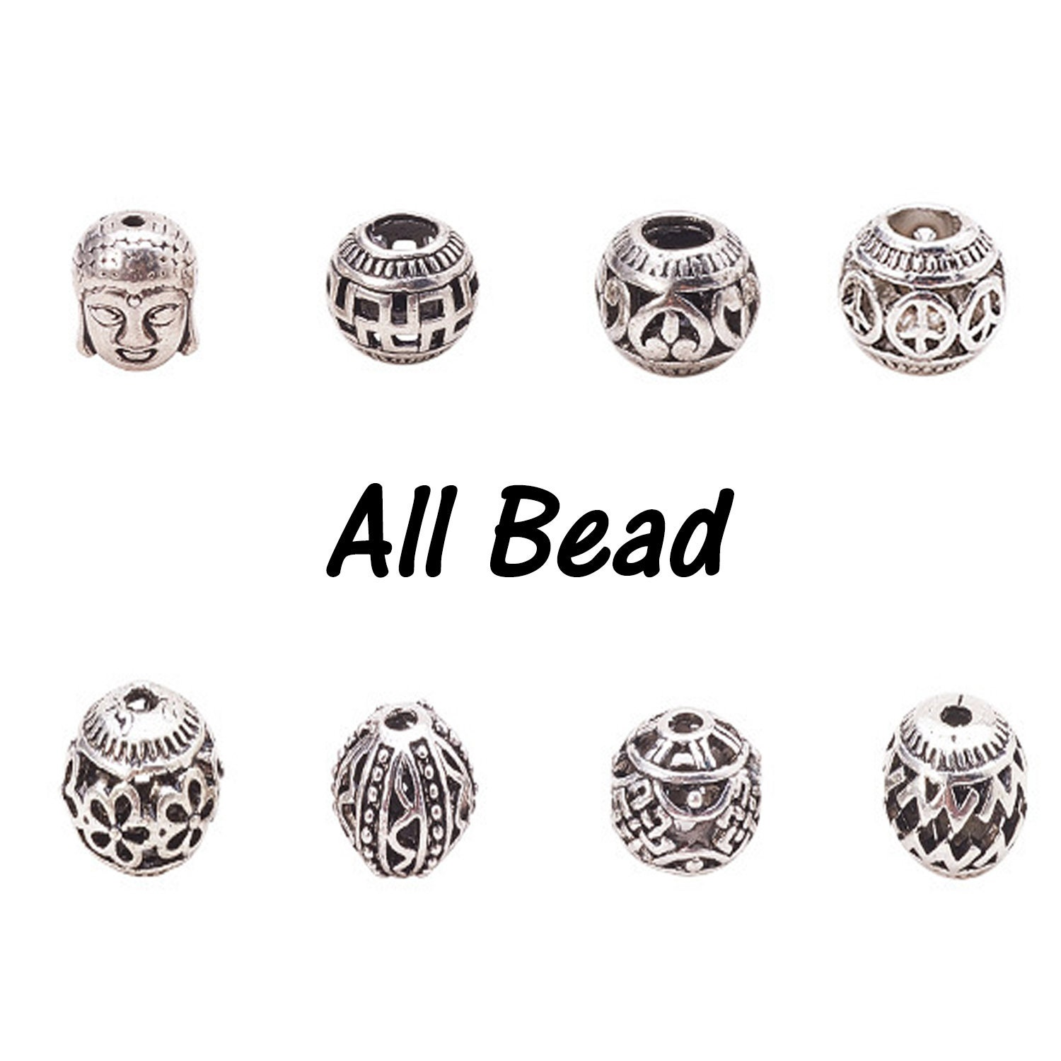 Smooth Without Pattern Silver Big Hole Loose Spacer Beads DIY Jewelry Findings