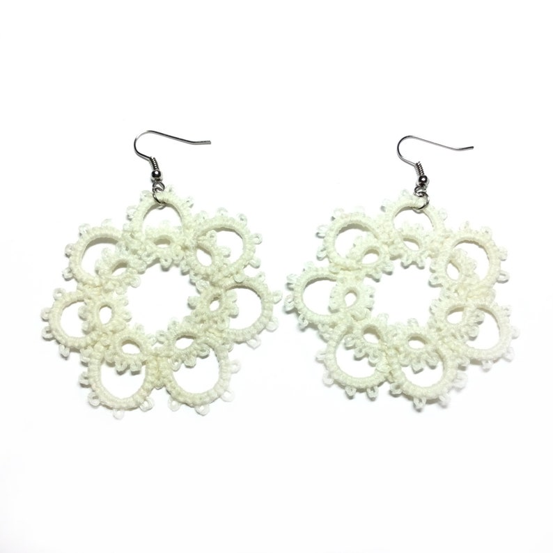 Necklace and earrings tatting lace beige necklace and earrings lace tatting lace weaving wedding dridesmaid graduation gift mothers day git