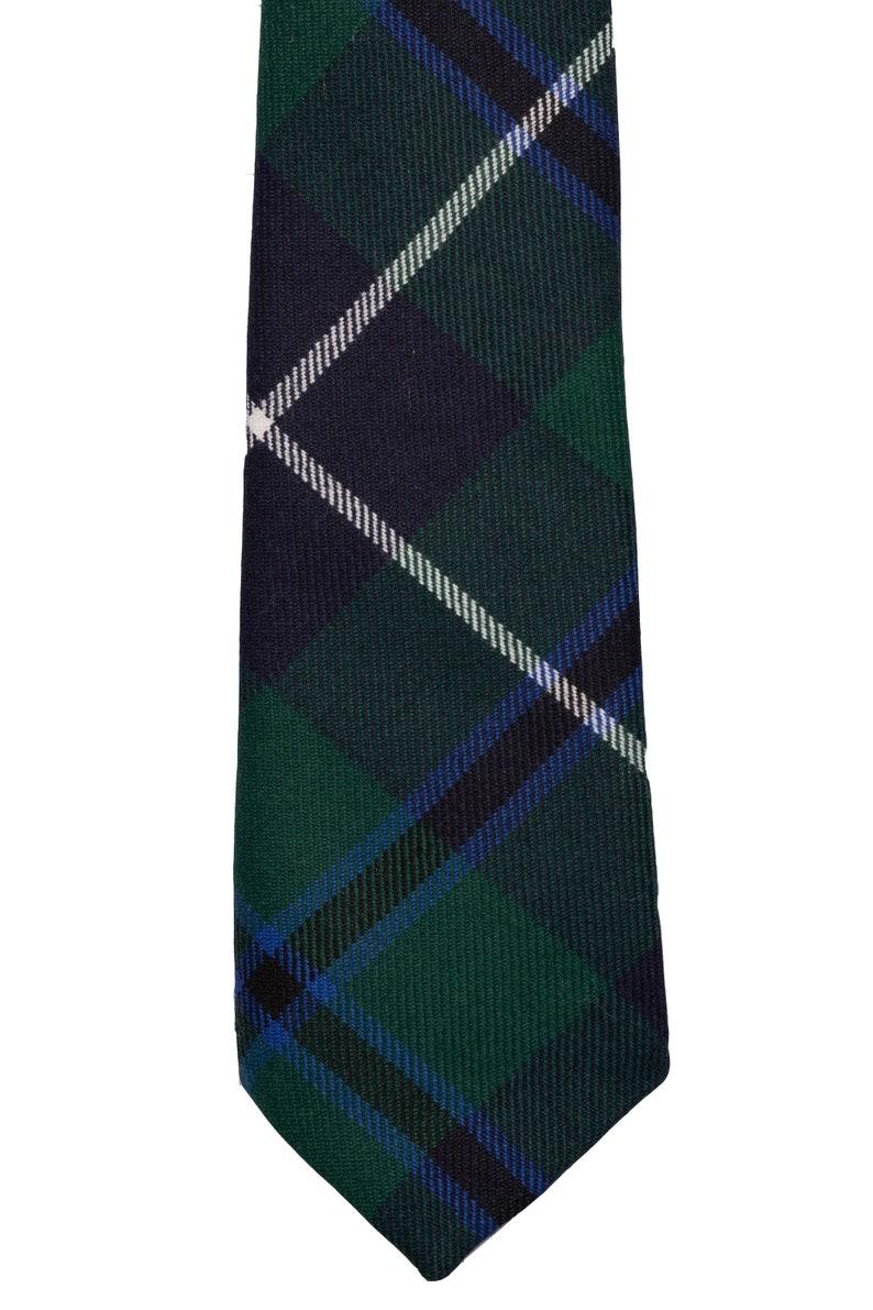 Mens Tie All Wool Made in Scotland Douglas Grey Modern Tartan