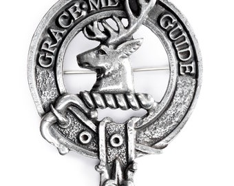 USA Kilts Forbes Clan Crest Cap Badge / Brooch Pin Made in Scotland