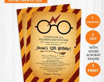Harry Potter Invitation Etsy